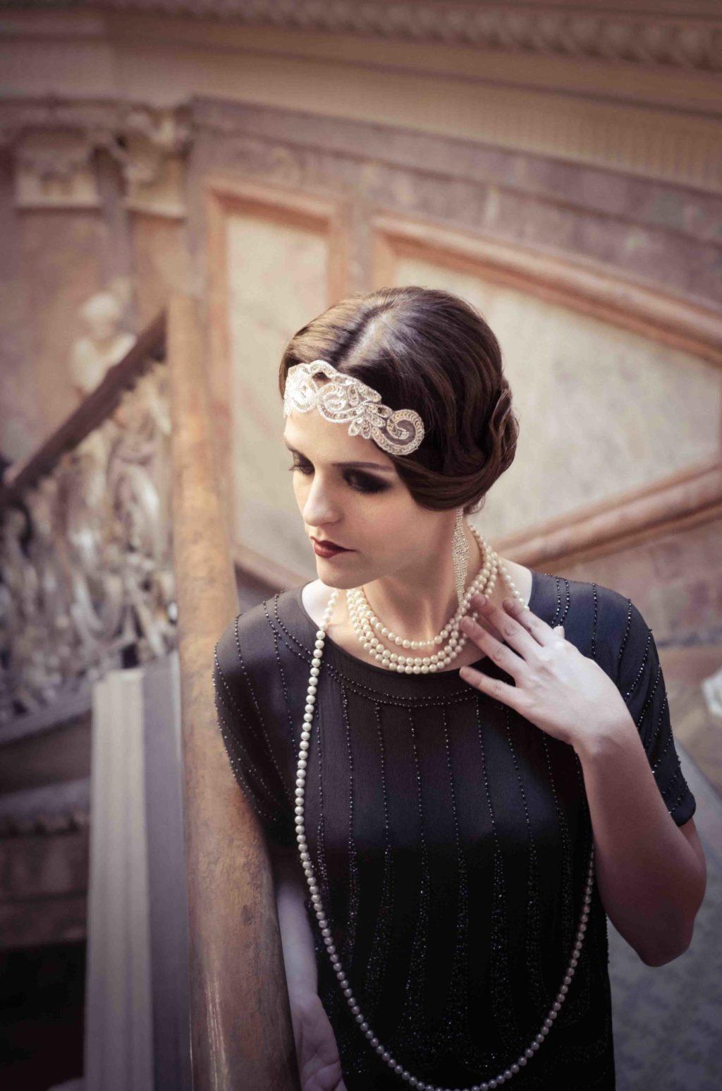 gatsby, charleston, flecos, perlas, original, creatividad, retrato
