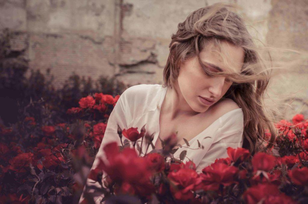 flowers, rose, wind, hair, woman