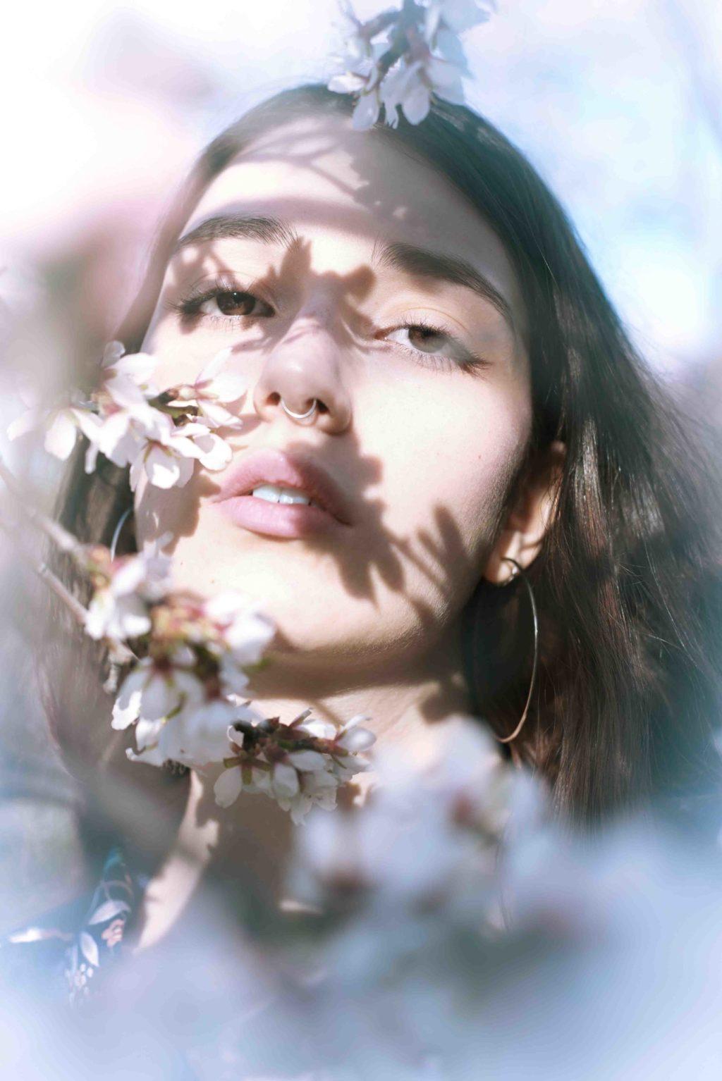 primer plano, face, eyes, flower, lips, beauty