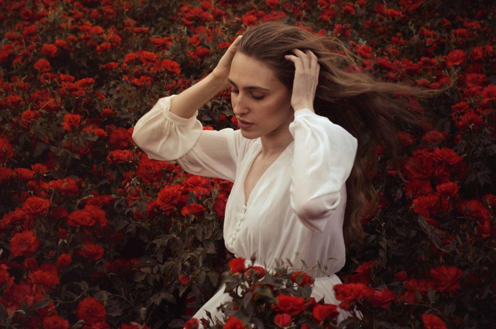 rose, wind, dress, woman, photo, pic, photo