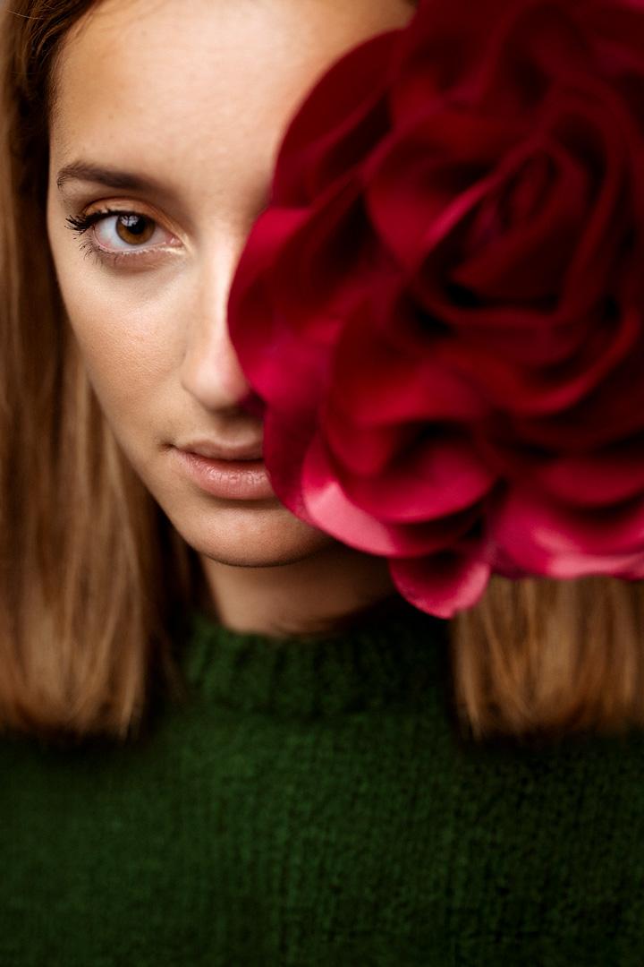rosa, mirada, modelo, rostro,sonrisa, retrato