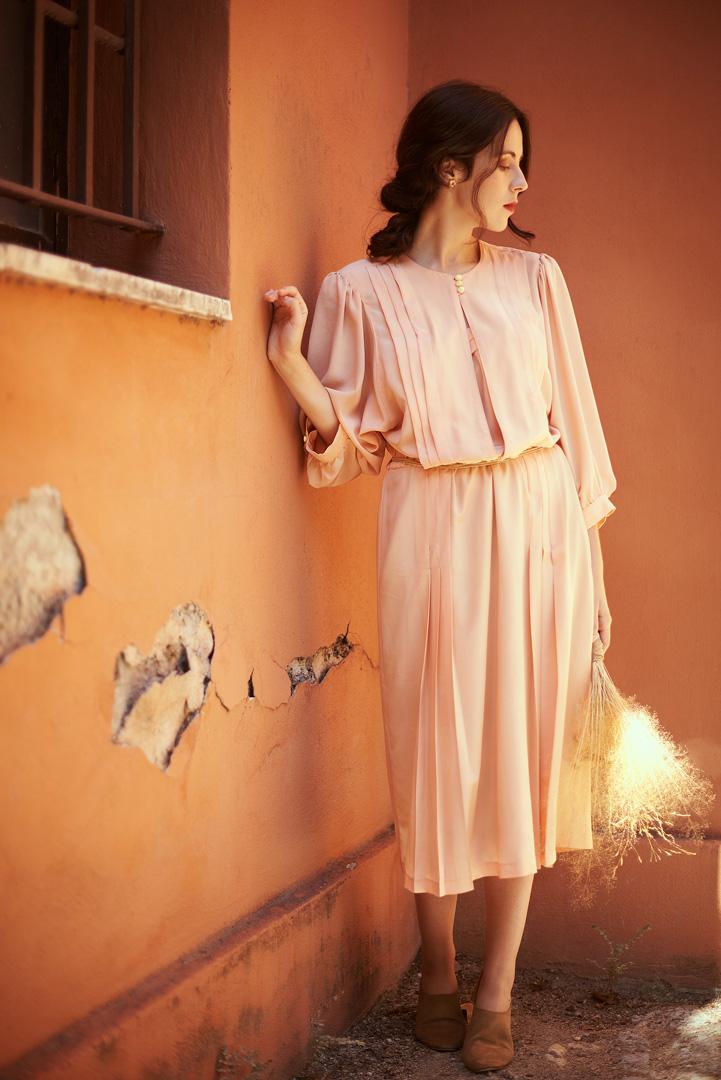 sun, natural light, woman, dress, pink, orange
